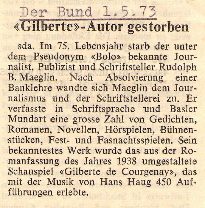 Gilberte Autor Gestorben Der Bund 1. Mai 1973