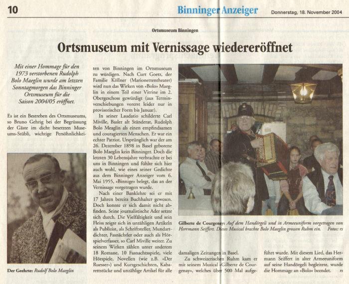 Ortsmuseum Vernissage Binninger Anzeiger Vom 18.11.2004
