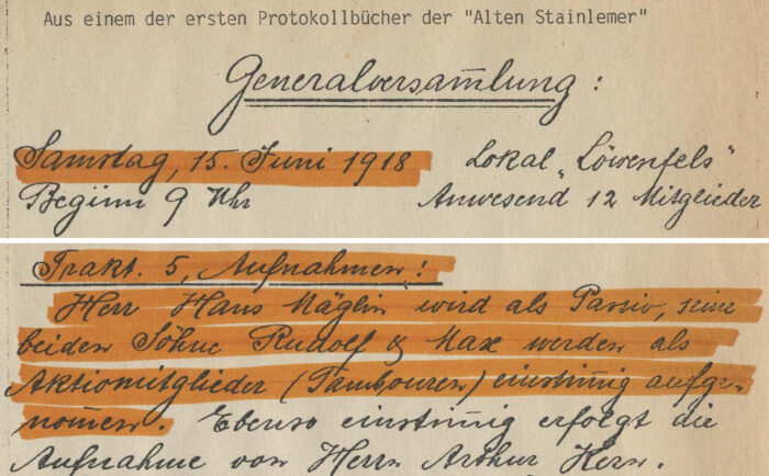 alti stainlemer protokoll auszug bolo 1918