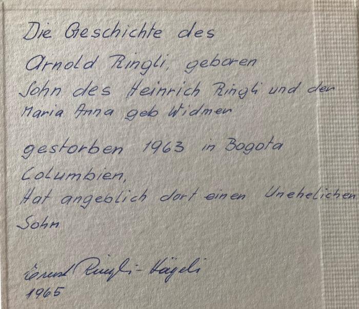 Notiz im Ruesser von Ernst Heinrich Ringli (Neffe von Noldi)